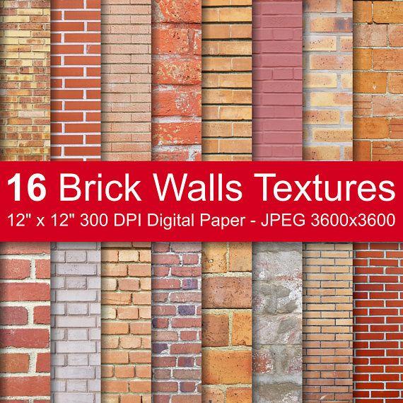 Telecharger 16 Brique Murs Textures Pack De Brique De Papier Etsy Digital Paper Brick Wall Digital Paper Pack