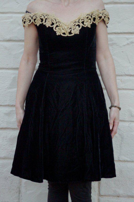 Vintage 80s 90s Black Velvet Gunne Sax Jessica Mcclintock Etsy Mini Velvet Dress Mini Dress Coctail Dresses