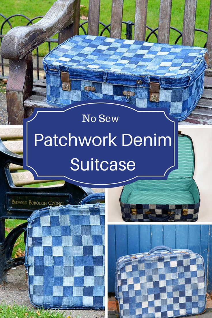 Upcycle a battered old suitcase into some fun storage. This is a no sew patchwork suitcase tutorial. All you need is some old jeans scraps and a bit of glue. Full tutorial.