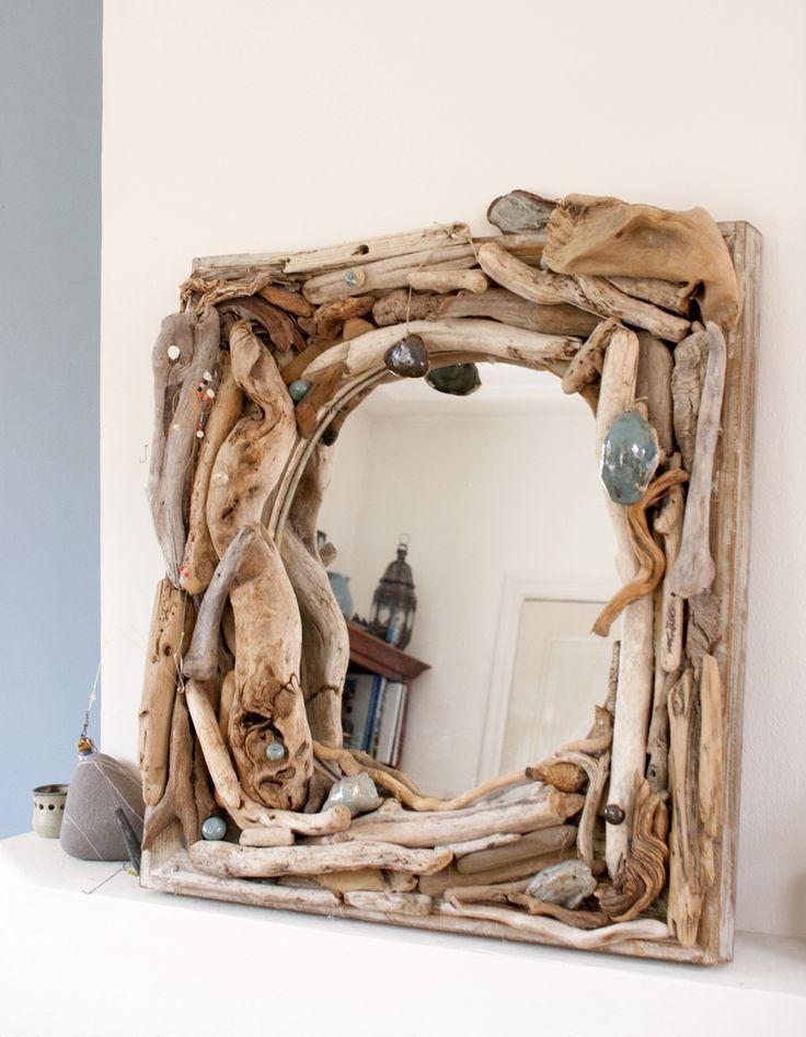 Mirror driftwood & ceramics   spiegel, hout & keramiek Sia Windig