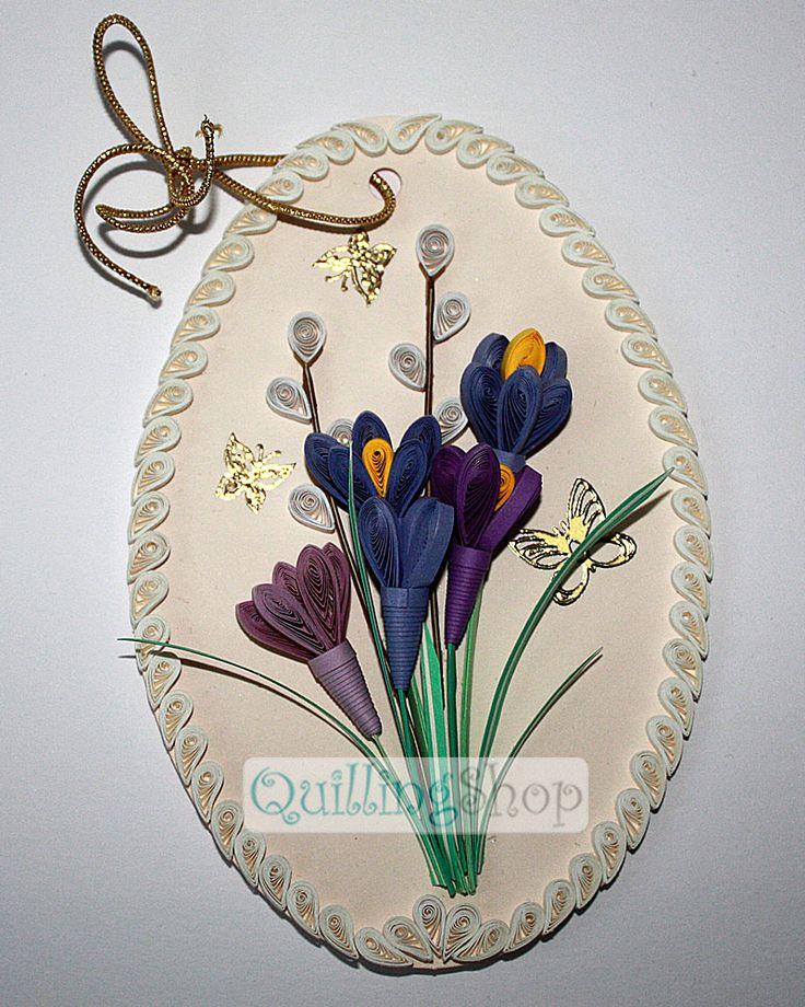 Quillingshop: Пасхальная открытка крокусы в стиле квиллинг