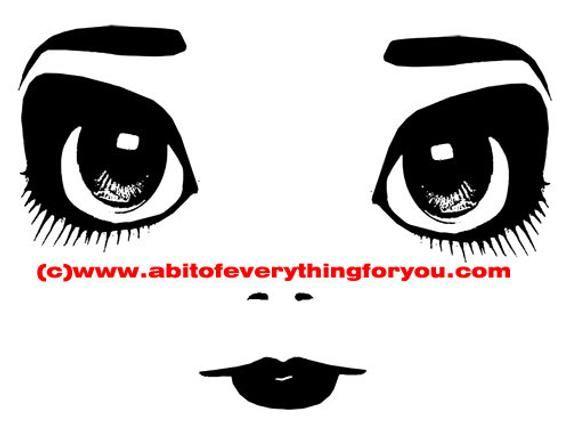 Big Eye Girl Eyes Lips Art Clipart Png Jpg Download Digital Image Graphics Cartoon Black And White Original Artwork Lip Art Black And White Artwork Clip Art