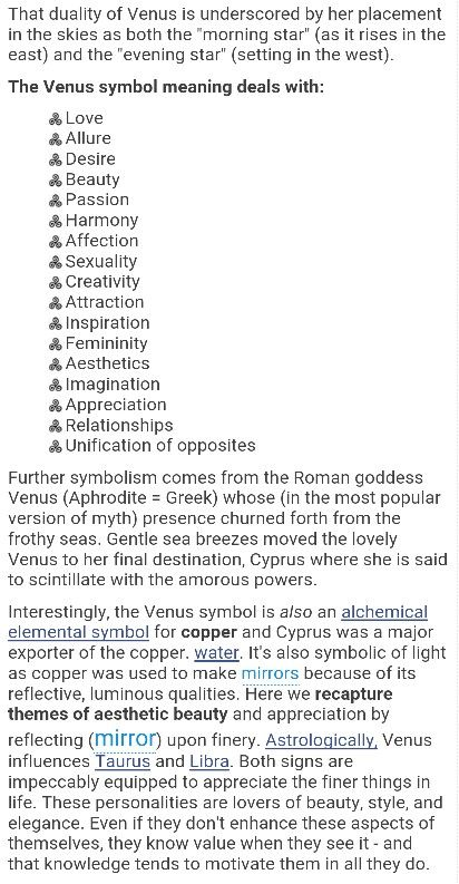 The Venus symbol meaning