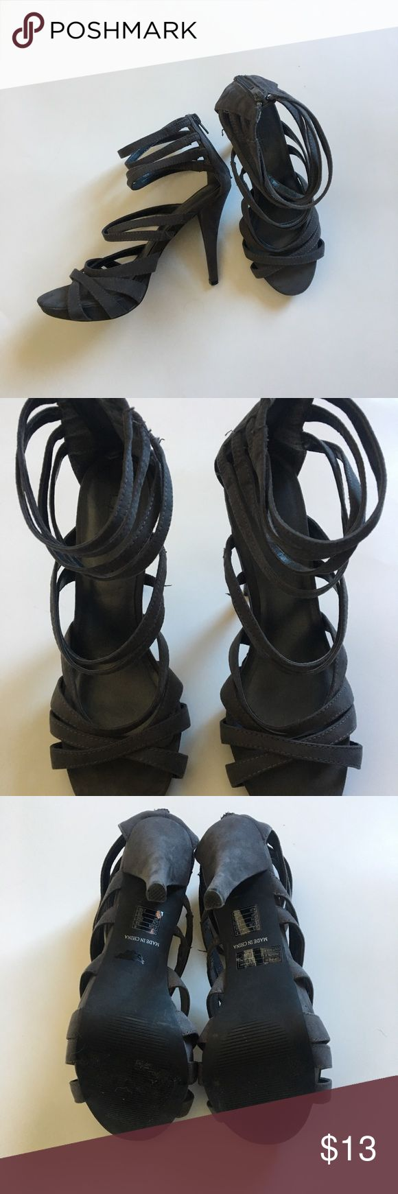 Gray strap up heels Great condition, gray strap up heels that zip at the ankle Forever 21 Shoes Heels