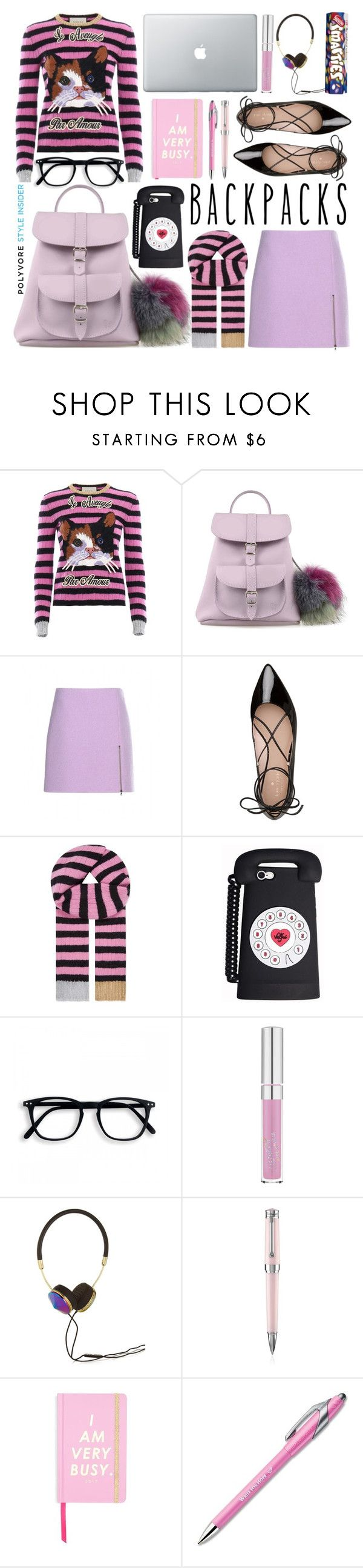 """""""Rule School : Cool Backpacks"""" by monica-dick ❤ liked on Polyvore featuring Gucci, Grafea, Carven, Kate Spade, Frends, Montegrappa, ban.do, Paper Mate, backpacks and contestentry"""