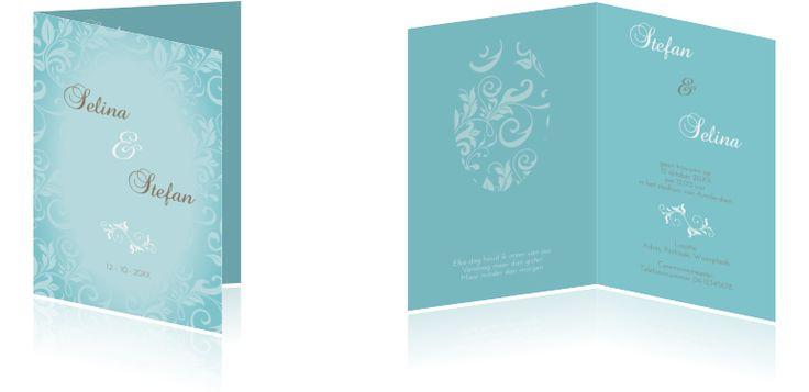 's Winterse trouwkaart  met ornamenten en overloop #Trouwkaart met #winters #blauwe kleur, #sierlijke #ornamenten en #patroon met #overloop.#TrouwkaartOrnamenten #TrouwkaartMaken