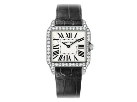 Check out this Cartier Santos-Dumond watch in white gold with quartz dial and diamond accents!