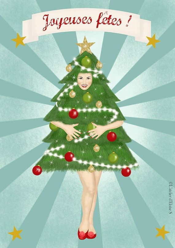 Humoristic christmas or New year postcard with a retro pin-up.  Size 10.5 X 14 cm, professionally printed on postcard paper 350g with a glossy