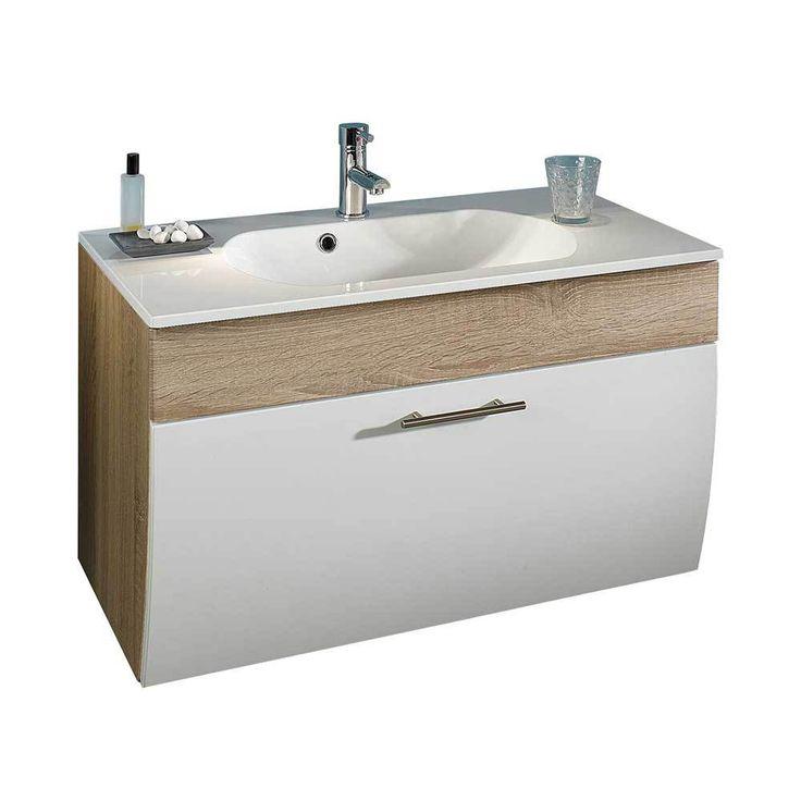 Badezimmer Waschbeckenschrank In Weiß Hochglanz Eiche Sonoma Mit Klappe  Jetzt Bestellen Unter: ...