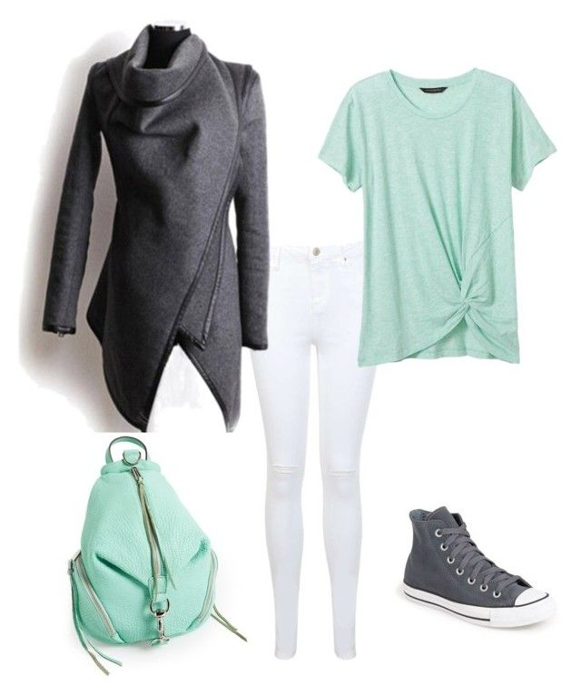 Grey, white, mint by slavka-cesnek on Polyvore featuring Banana Republic, Miss Selfridge, Converse and Rebecca Minkoff