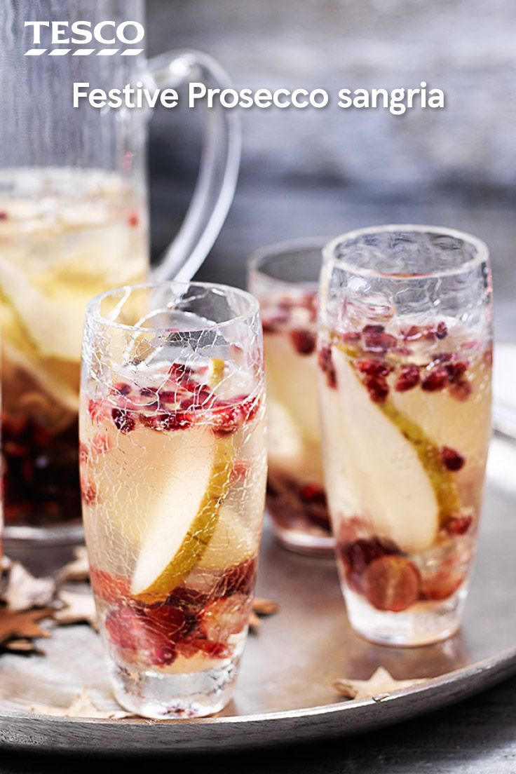 Add a Spanish twist to your festive fizz this Christmas with this fruity prosecco sangria cocktail recipe. Perfect for a party, this brandy, pear and pomegranate prosecco cocktail can be made as a jug to share. | Tesco