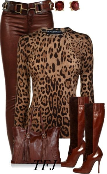 Fashion Style Combination - A Brown Leather Pants and Boots to match, with a leopard blouse and nice leather brown pocketbook to match / Brown outfit