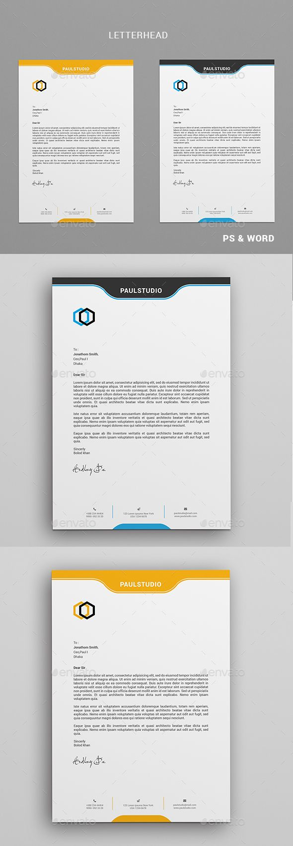 Corporate Business Letterhead Design Template - Stationery Print Template PSD. Download here: https://graphicriver.net/item/letterhead/19106890?ref=yinkira