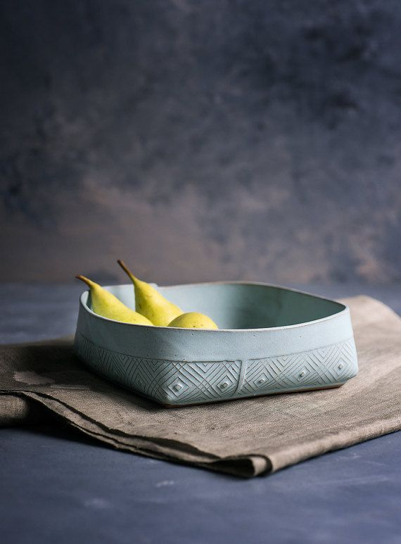 Ceramic Serving Bowl , Fruit Bowl , light blue Bowl , Geometric Pattern salad Bowl on Etsy, $56.00