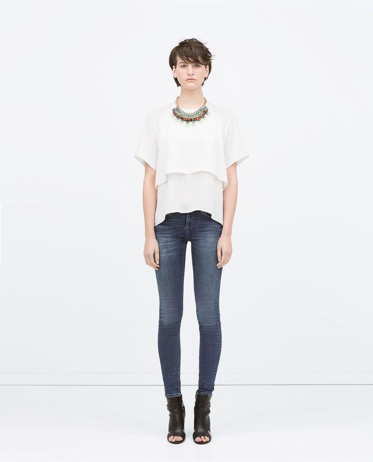 Image 1 de PANTALON DENIM TAILLE BASSE de Zara