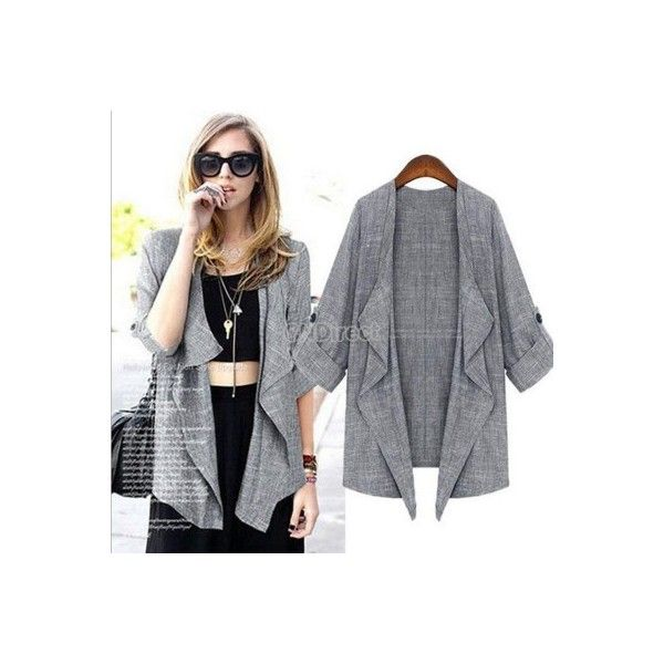 Korean Style Women 3/4 Sleeve Open Front Asymmetric Thin Coat Outwear Cardigan Coat Jacket found on Polyvore