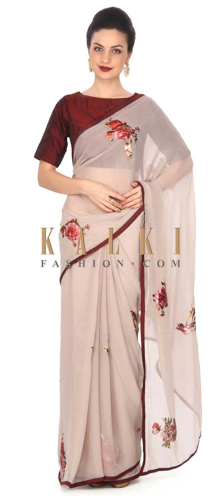 Buy this Grey saree Grey saree enhanced in applique work only on Kalki