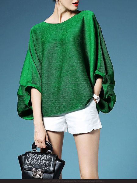 Shop T-Shirts - Green Pleated Plain Polyester Batwing T-Shirt online. Discover unique designers fashion at StyleWe.com.