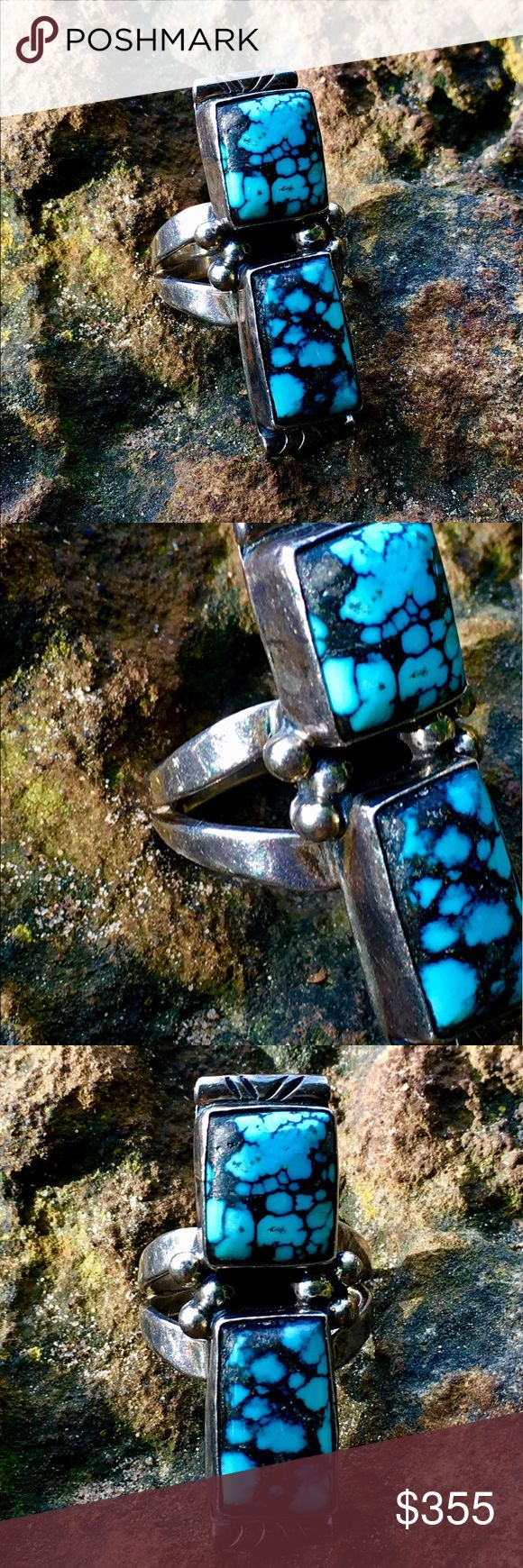 """Navajo Silver Cloud Mnt. Spider Web Turquoise Ring Drop Dead Gorgeous, VINTAGE, era 1980's, Sterling Navajo Ring, by Navajo Wilson Padilla, fashioned of Exotic Gem Grade Cloud Mountain Spiderweb Turquoise, 2- Rectangular Cabochons, 7/16"""" x 3/8"""" and the larger is approx. 5/8"""" x 5/16"""", Set in Full Bezels, Color of stones is a deep sky blue w/dark Charcoal Black, reminiscent of Old Lander Blue Turquoise., Split Shank Ring, Face of Ring is 7/16"""" x 1 1/2"""", w/3 hand poured """"Silver Rain Drops"""" on…"""