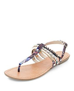 Multicoloured Abstract Print Metal Trim T-Bar Strap Sandals  | New Look
