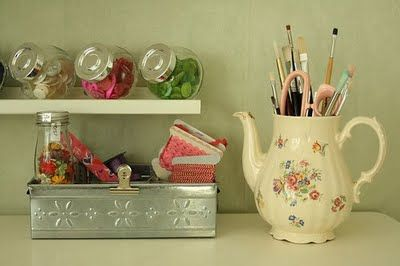 A teapot as brush storage and sweetie jars for pretty hair pins? Just darling!