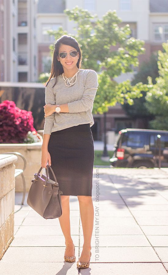 mixed metal necklace, gray sweater, oversized watch, black pencil skirt, leopard pumps
