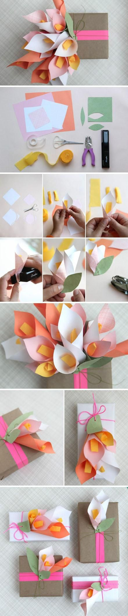 paper cala lily flowers (bad link, but the pictures tell the story very well!)