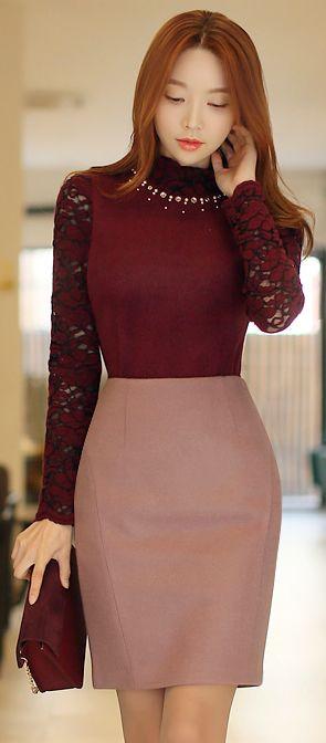 StyleOnme_Pastel Color Wool Pencil Skirt #lavender #pink #koreanfashion #pencilskirt #wool #wintertrend #lace #elegant #feminine #kstyle #seoul #formal #girly #kfashion #dailylook