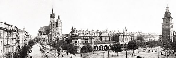 Panoramic view of the Cracow's main square. Year 1929