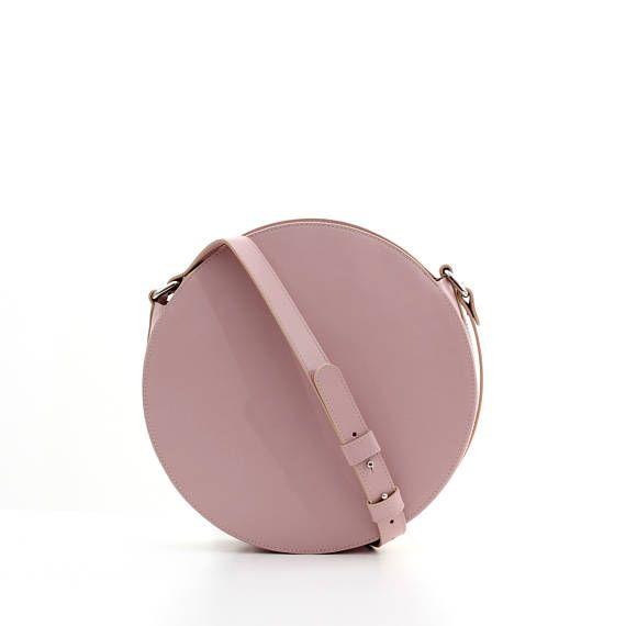 Pink leather circle bag round bag leather crossbody bag