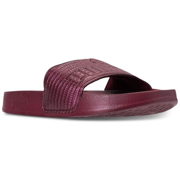 Puma Women's Leadcat Leather Slide Sandals from Finish Line ($30) ❤ liked on Polyvore featuring shoes, sandals, cordovan, leather shoes, leather slide sandals, slide sandals, puma sandals and puma shoes