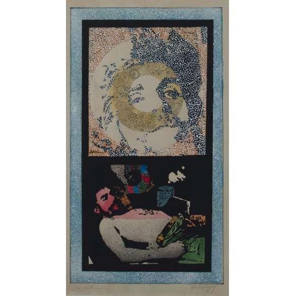 Antonio Manuel (1947) e Darcílio Lima (1944-1991) - Che Guevara - Serigrafia com interferência - 52 x 29 cm - 1968 - Assinado por ambos os artistas (Esta serigrafia de Antonio Manuel tem versões também com interferências de Ivan Serpa)