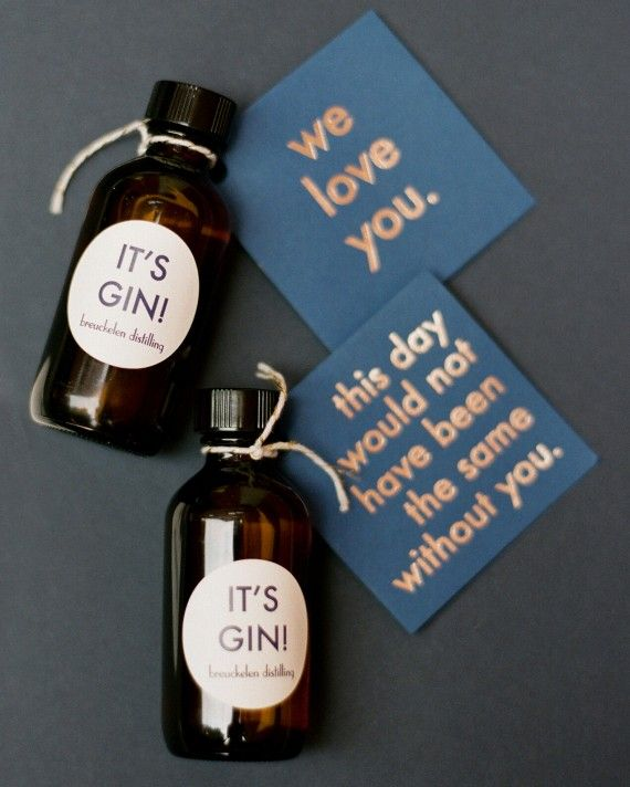 Amy worked with Breuckelen Distilling to hand-fill round mini bottles with gin as favors for her guests. Each bottle came with foil-stamped tags and stickers that Amy designed on For Your Party.