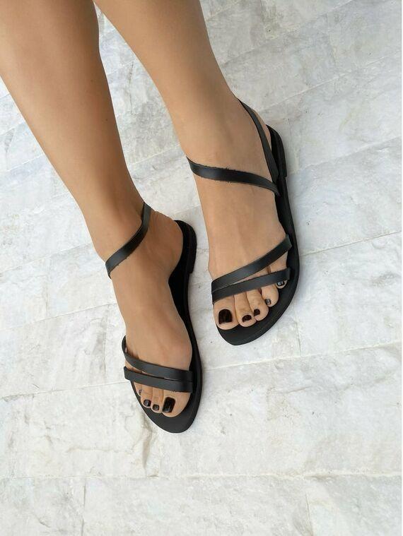 Made from 100/% Genuine Leather. Summer Shoes Greek Sandals Black Sandals Women/'s Sandals Black Gladiator Sandals Leather Sandals