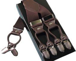 Pánske kožené traky s elastickým pásom v hnedej farbe