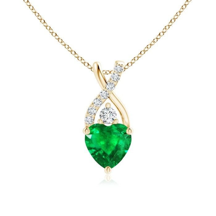 Angara Pave-Set Emerald and Diamond Horseshoe Pendant Necklace jnkt6
