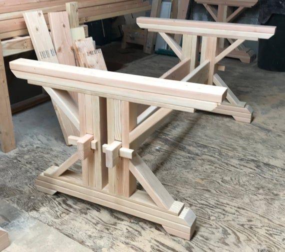 Farmhouse Double Trestle Table Diy Kit Made To Order Etsy Diy Table Trestle Table Diy Furniture