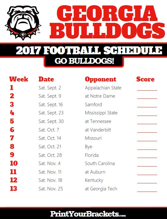 Printable Georgia Bulldogs Football Schedule