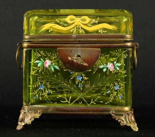 1880 MOSER GLASS SUGAR CASKET ENAMEL PAINT WITH KEY
