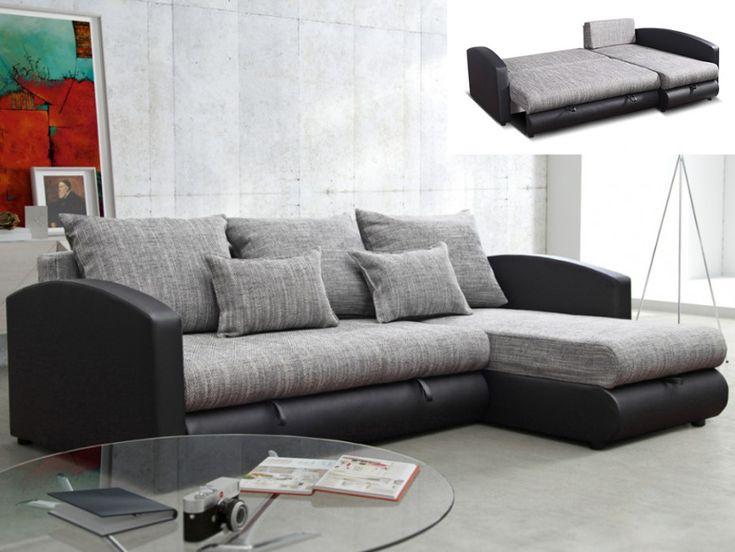 Canapé d'angle convertible et réversible PIANA pas cher gris et noir prix promo Canapé Vente Unique 549.99 €