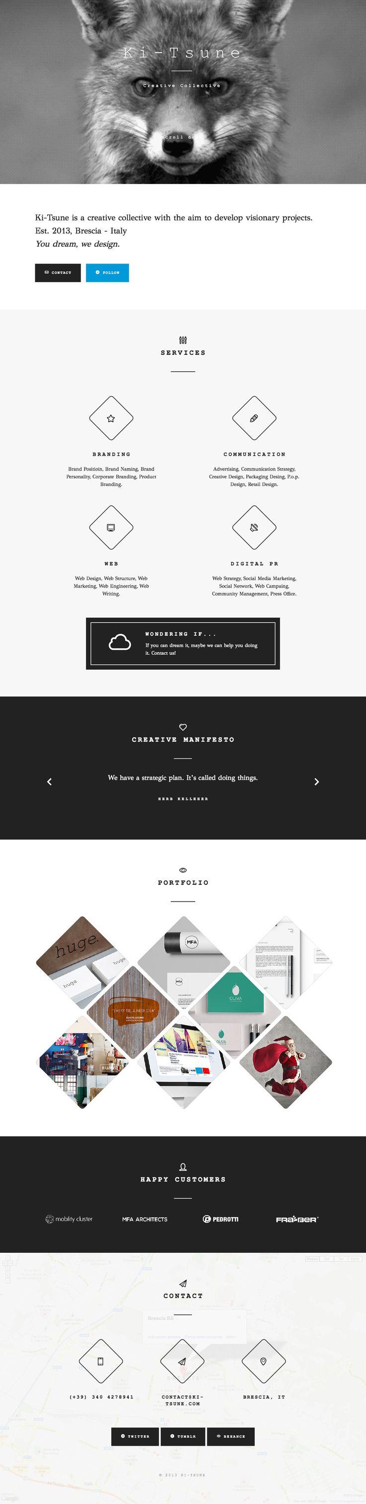 Responsive one page portfolio for digital agency 'Ki-Tsune' with a full screen GIF intro of a fox.