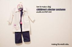 How to make a cute children's doctor costume. Scrubs and doctor coat! Making the World Cuter