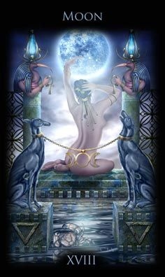 Stunning Moon card from the Legacy of the Divine Tarot.  The Moon card suggests things aren't always as they appear.