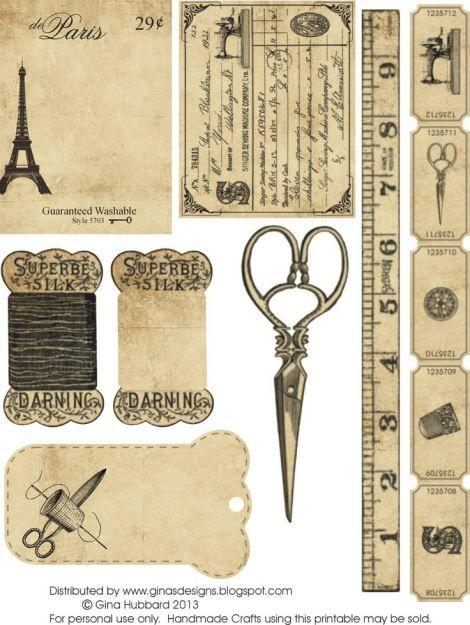 Imágenes para imprimir-Free Printables | Tati Scrap -Recortando Ideas paris vintage sewing
