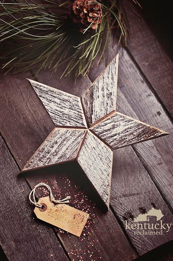 White Wooden Christmas Star Tree Topper by KentuckyReclaimed