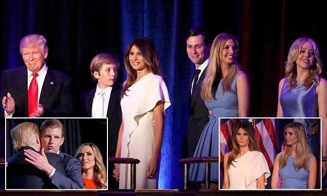 All of the Trump clan, including his sons Eric, Donald Jr and Barron, daughters Ivanka and Tiffany, wife Melania and running mate Mike Pence walked with him onstage early on Wednesday.