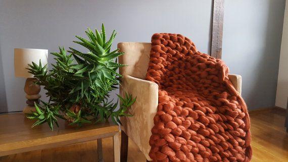 Chunky Blanket Throw Blanket Sofa Throw Knitting by Merrisson