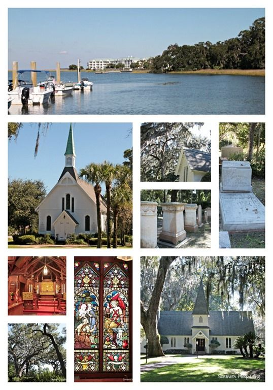 Epworth by the Sea Conference center and Christ Church collage on St Simons Island, Georgia.