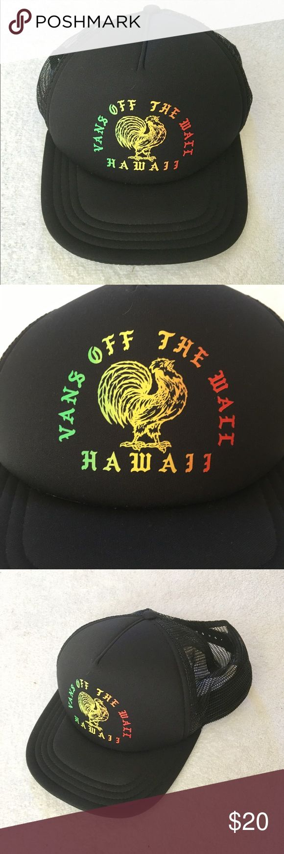 Vans Off The Wall Hawaii Adjustable Trucker Cap Vans Off The Wall Adjustable Trucker Cap  It is a snapback with mesh Hat Hawaii  Black with red yellow green print and a rooster  Good used condition.  No Rips Stains or Tears Comes from a smoke free home Vans Accessories Hats