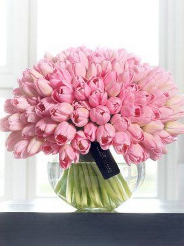 Beautiful Display Of  Pink Tulips In Vase